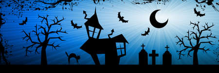 Terror night halloween background with house, cat, tombs and trees. photo