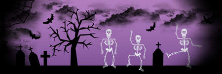 Scary dancing skeleton, tombs and tree Halloween banner background. photo