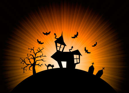 Terror orange night halloween background with house, cat, tombs and trees. photo