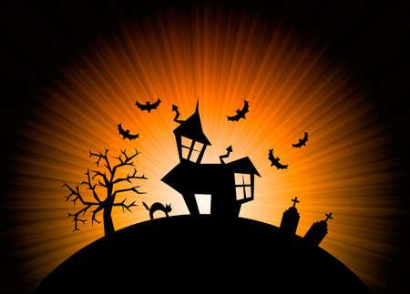halloween skeleton: Terror orange night halloween background with house, cat, tombs and trees.