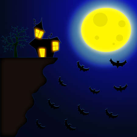 Terror night halloween background with house near a risky cliff and bats flying to the moon. photo