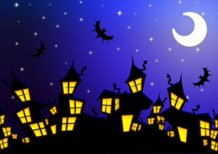Halloween nightmare cityspace with bats and moon over blue background. photo