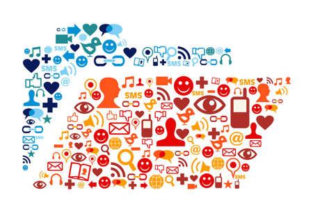 Social media icons set in folder shape composition Stock Vector - 10888475