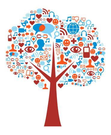 trabajo social: Sociales iconos de los medios establecidos en la composici�n del �rbol de forma