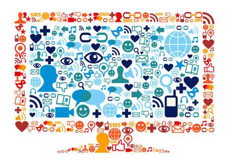 sociologia: Sociales iconos de los medios establecidos en el piso de la composición ancha de forma monitor de