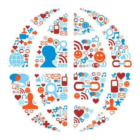 Social media icons set in Earth globe shape illustration Stock Vector - 10888478