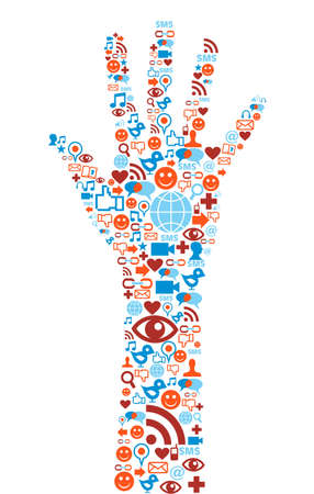 sociology: Social media icons set in hand shape composition