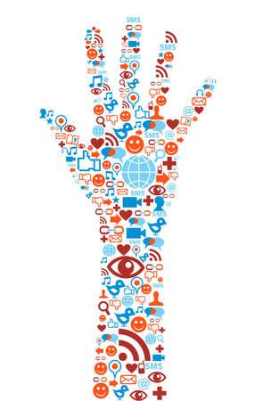 sociologia: Sociales iconos de los medios establecidos en la composición de la mano la forma