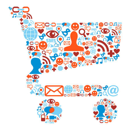 social work: Social media icons set in shopping cart shape composition