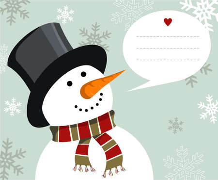 gift of hope: Snowman illustration wearing hat and scarf with dialogue balloon on snowy background.  Vector file available. Illustration