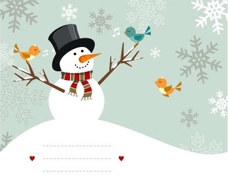 snowy background: Mu�eco de nieve con ilustraci�n de aves con l�neas en blanco para escribir sobre fondo cubierto de nieve. Archivo de vector disponible.