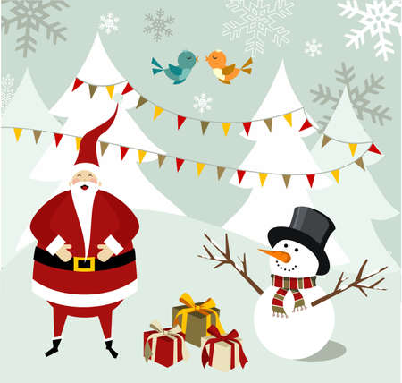 dear: Santa Claus and snowman illustration celebrating Christmas with gifts in a snowy background.  Vector file available.