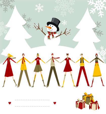 snowy background: Mu�eco de nieve celebrar la Navidad y la gente de la mano con l�neas en blanco para escribir sobre un fondo nevado. Vector de archivo disponibles.