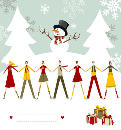 dear: Snowman celebrating Christmas and people holding hands with blank lines to write on snowy background. Vector file available. Illustration