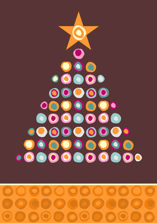 christmas tree purple: Christmas tree made of multicolored circles with a star on the top on purple background.  Vector file available. Illustration