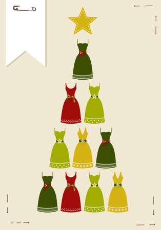 safety pin: Christmas tree made ??of multicolored dresses with a yellow star on the top on pink background.  Vector file available.