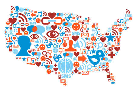 Social media icons set in USA map shape illustration Vector