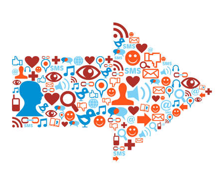 sociologia: Iconos de medios de comunicaci�n social en la composici�n de la forma de flecha Vectores