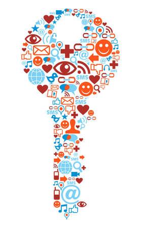 information security: Social media icons set in key shape composition Illustration