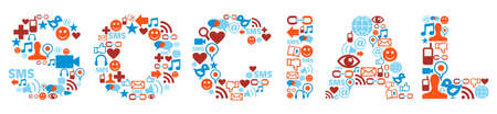 sociologia: Palabra social hecho con los iconos de los medios de comunicación establecidos.