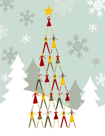 Christmas tree made of  people with a yellow star on the top over a snowy background.  Stock Vector - 10981461