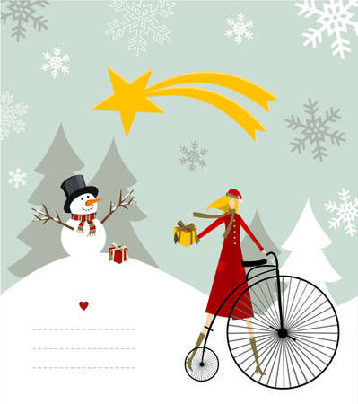 dear: Snowman with star and gift on a bicycle illustration with blank lines to write on snowy background.