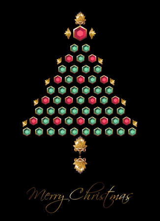 xmas decoration: Christmas tree made of diamonds with gold de Vector file available.