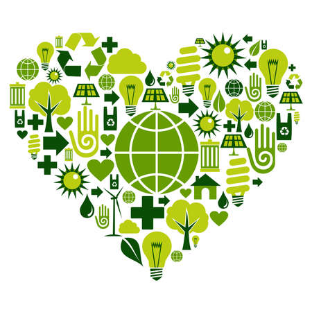Heart with environmental icons in green .  Vector