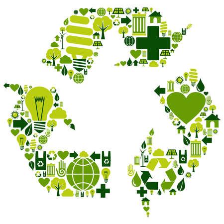 reciclar: El s�mbolo de reciclaje con los iconos del medio ambiente.
