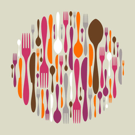 invite: Circle shape made of cutlery icons. Fork, knife and spoon silhouettes.