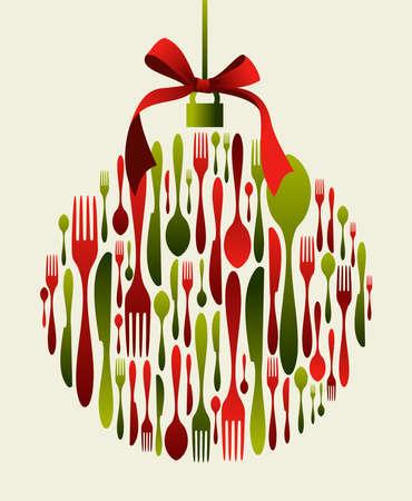 Cubiertos de Navidad chuchería. Tenedor, cuchara y cuchillo patrón en forma de juguete con una cinta en la parte superior. Se puede usar como tarjeta de invitación. Ilustración de vector