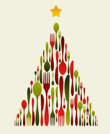 Albero di Natale posate. Modello di forchetta, cucchiaio e il coltello formando un albero di Natale con una stella splendente in cima. Utilizzabile come carta invito.