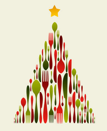 cena navideña: Árbol de Navidad cubiertos. Patrón de tenedor, cuchara y cuchillo formando un árbol de Navidad con una estrella brillante en la parte superior. Se puede usar como tarjeta de invitación.