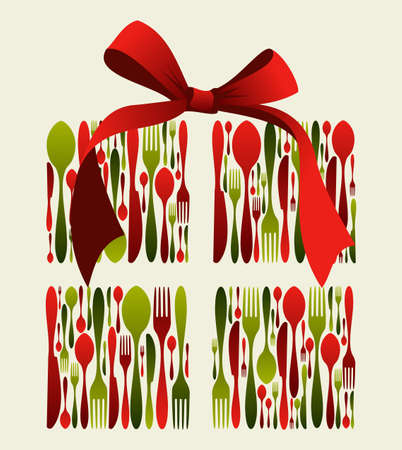 Christmas gift Cutlery. Fork, spoon and knife pattern forming a gift box with a ribbon on top.  Vector