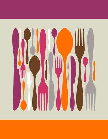 cuchillo y tenedor: Cuadrados, de los iconos de la cuchiller�a. Tenedor, cuchillo y cuchara de siluetas de diferentes tama�os y colores.