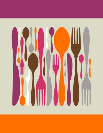 dinner party: Square made by cutlery icons. Fork, knife and spoon silhouettes on different sizes and colors.  Illustration