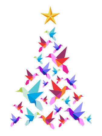 Christmas tree made of multicolored hummingbirds with a star on the top on white background. Vector