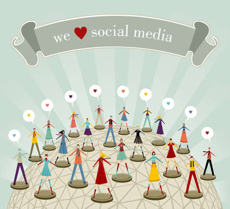 media love: We love social media network connection concept in Christmas winter time