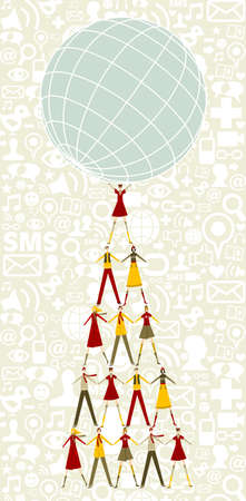 discussion forum: Pyramid as Christmas tree of people holding the world with social icons pattern background.