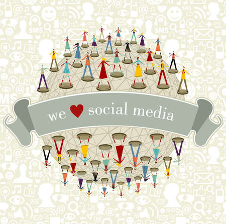 media love: We love social media network connection concept with social icons pattern background