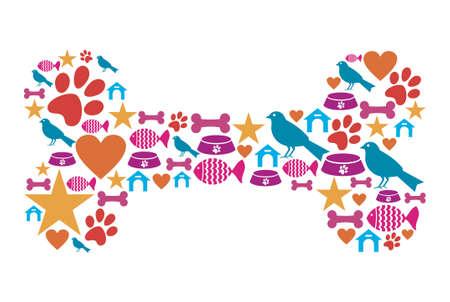 huellas de perro: Forma de hueso de perro hecho con mascotas iconos cuidados de los animales establecidas
