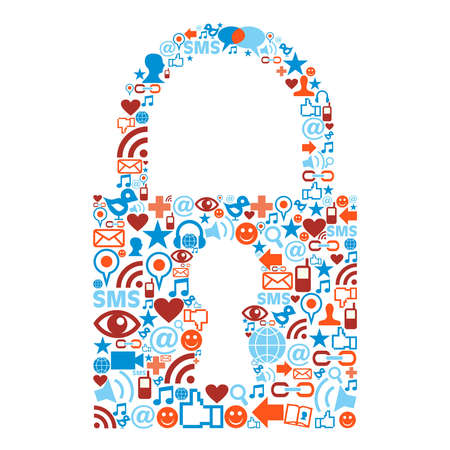 social work: Social media icons set in padlock shape composition