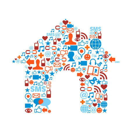 real state: Social media icons set in house symbol shape composition