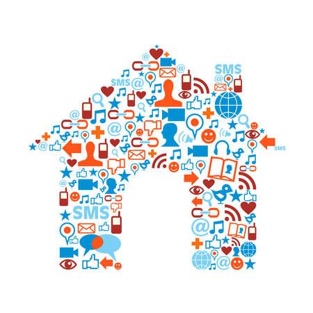 sociologia: Sociales iconos de los medios establecidos en la composición de la casa forma del símbolo