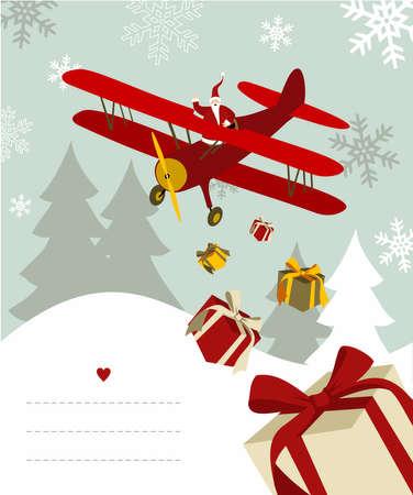 snowy background: Santa Claus lanzando regalos desde un avi�n con l�neas en blanco para escribir sobre fondo nevado.