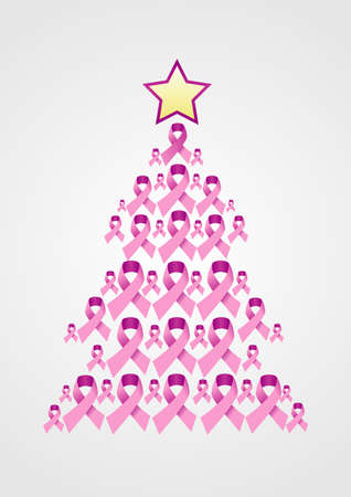 Christmas tree made ??of breast Cancer ribbon symbol on grey background.