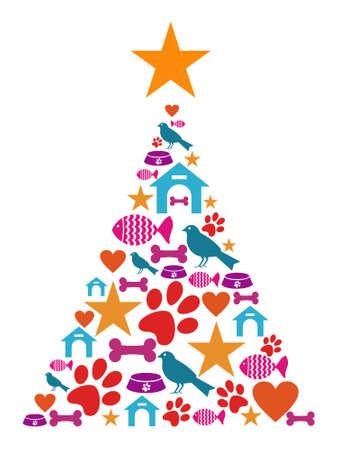La forma del árbol de Navidad hecho con iconos de mascotas conjunto.