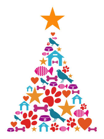 kennel: Christmas tree shape made with pets icons set. Illustration