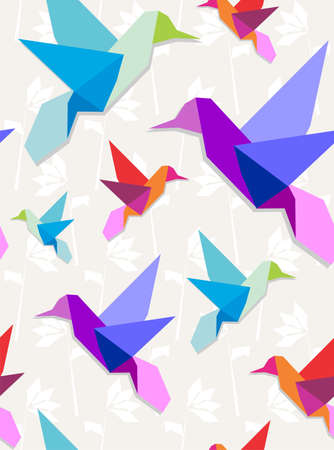 aves: Pastel colors origami hummingbirds seamless pattern background.