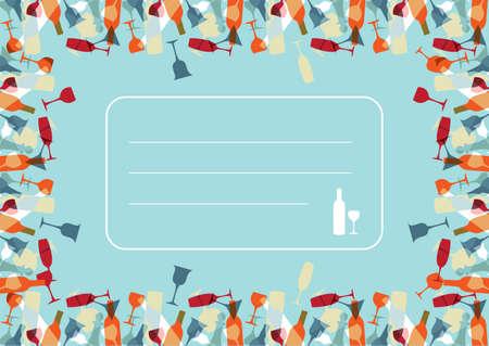 Colorful transparent beverage glasses and bottles texture background. Vector